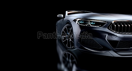 gray sports car on black background