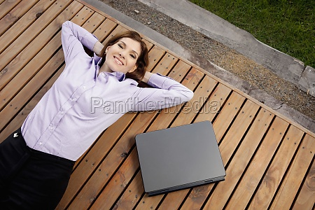 high angle view of a businesswoman