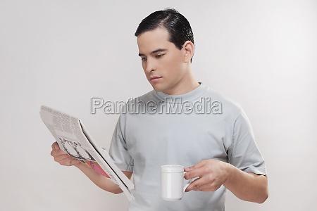 closeup of a man reading a