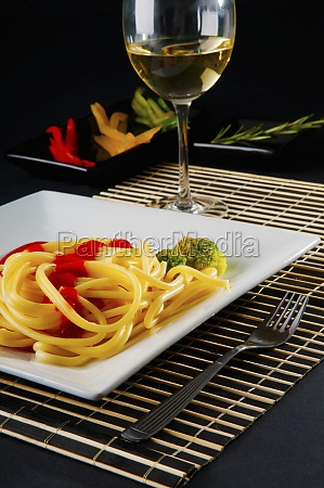 spaghetti pasta and tomato sauce served
