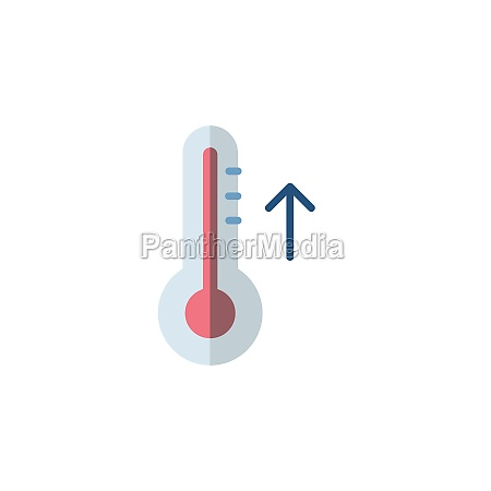 thermometer rise temperature flat icon isolated