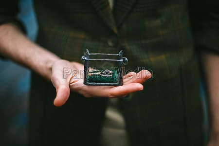 rings in casket in the hands