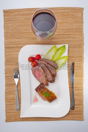 high angle view of steak served