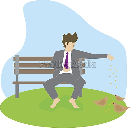 businessman sitting on a bench and