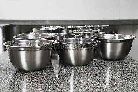 stainless steel bowls on a kitchen