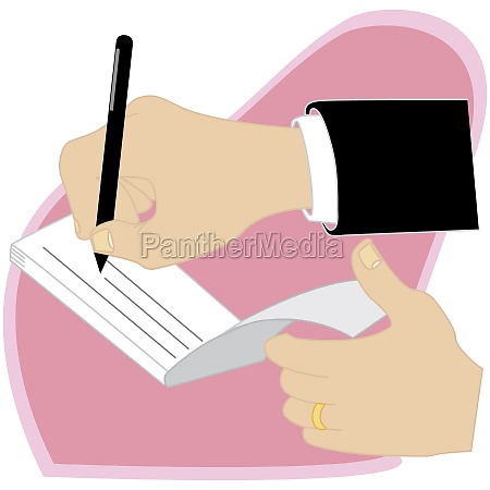 human hand writing on a check