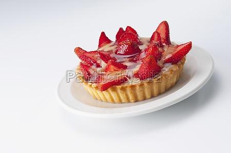 closeup of strawberry tart