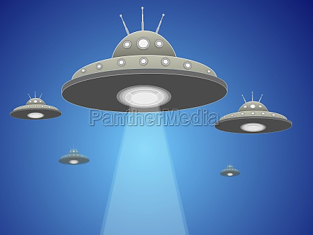 five ufoZs flying in the sky