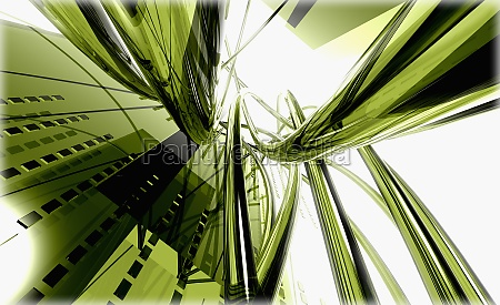 green abstract pattern on a white