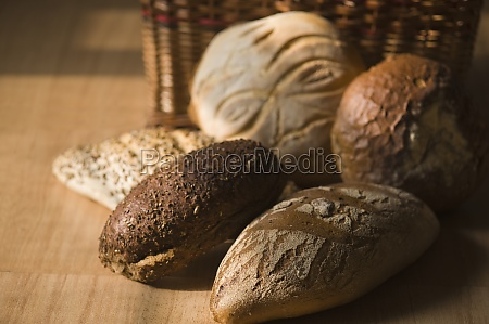 closeup of breads with wicker basket