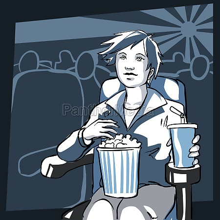 woman sitting in a movie theater