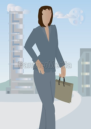 woman walking away from a city