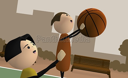 father teaching his son basketball