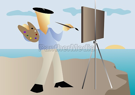 painter painting a picture on an