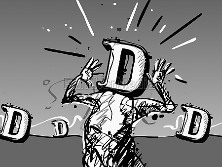 the letter d on a personZs