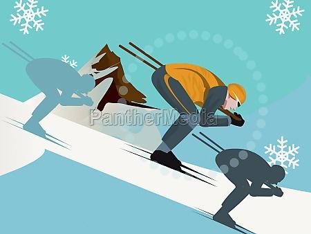 side profile of three people skiing