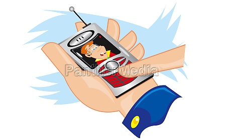 personZs hand operating a mobile phone