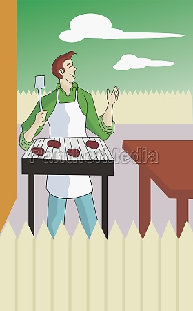 man grilling food outdoors