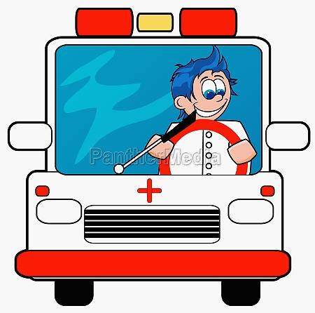 ambulance driver driving an ambulance