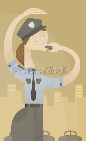 female traffic cop controlling traffic
