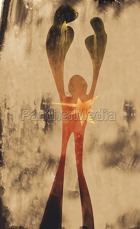person with arms raised