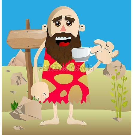 prehistoric man drinking coffee