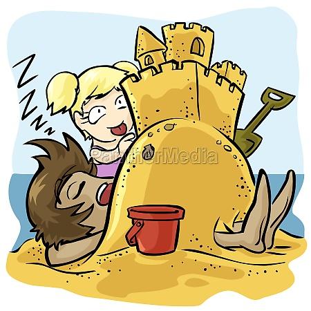 girl building a sand castle on