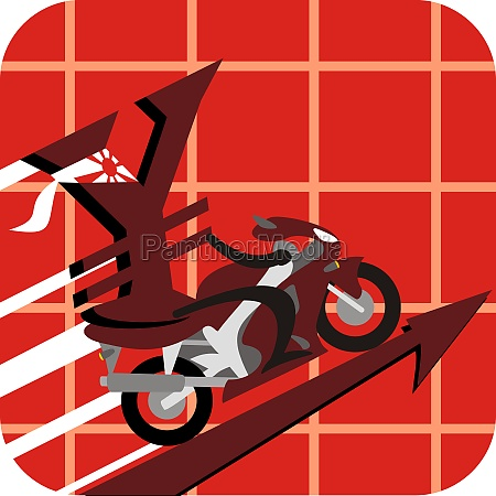 yen sign driving a motorcycle on