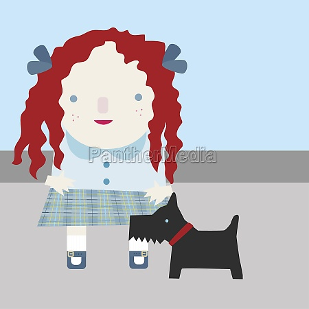 girl standing with a puppy