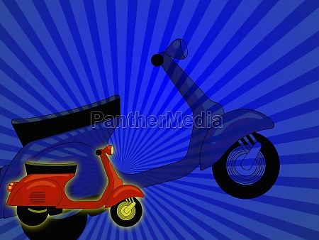 scooter against a striped background