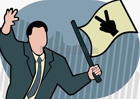 businessman waving a flag