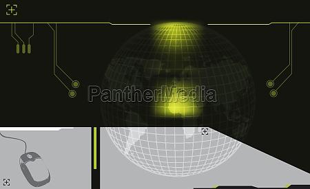 computer mouse near a globe