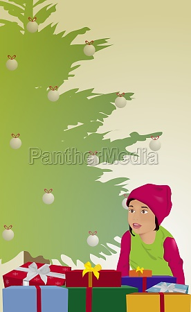 girl sitting in front of christmas