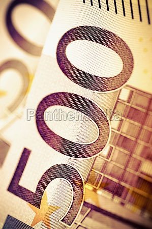 closeup of european union banknotes