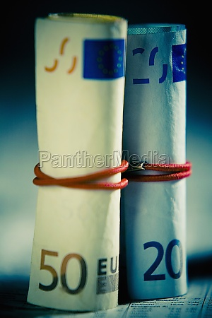 closeup of european union currencies