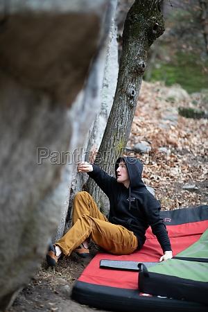 a rock climber climbing on a