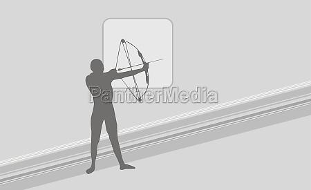person aiming an arrow
