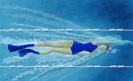 woman swimming in a swimming pool