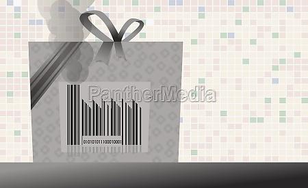 bar code on a shopping bag