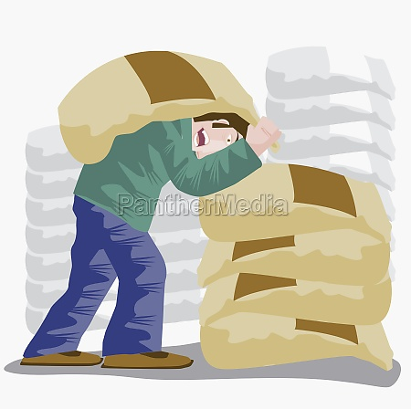 mid adult man carrying a sack