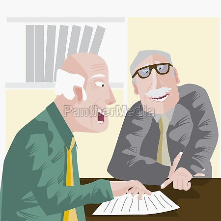 two businessmen discussion in an office