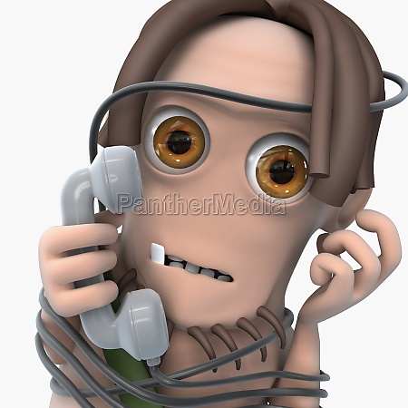 man tied up with a phone