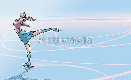 young woman ice skating