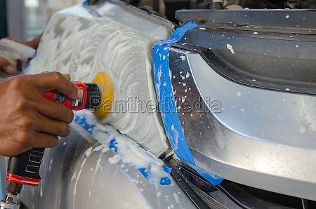 polishing car headlights