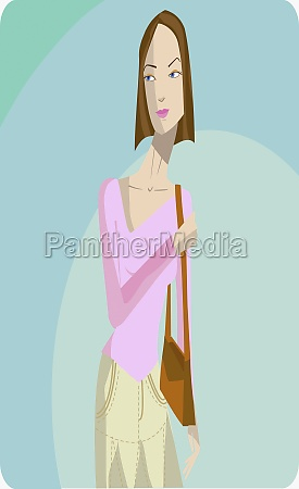 young woman carrying a hand bag