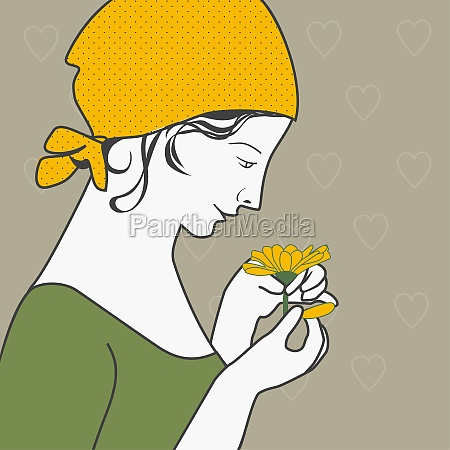 young woman plucking the petals of
