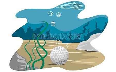 golf ball underwater