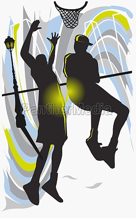 silhouette of two men playing basketball