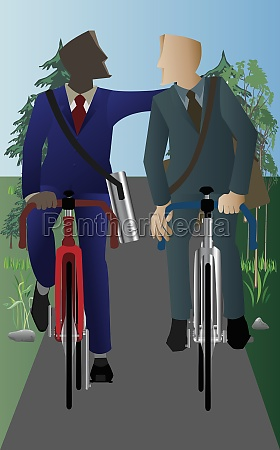 two businessmen cycling on the road