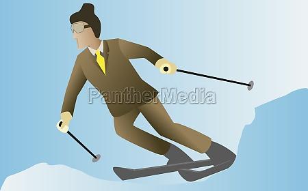 businessman skiing